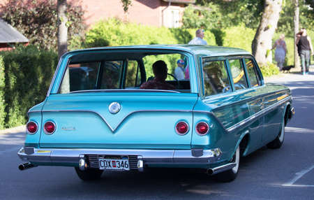 TROSA SWEDEN July 20, 2017. Chevrolet Bel Air Parkwood Station Wagon, year 1961.Driving in the small idyllic city of Trosa in Sweden. Editorial