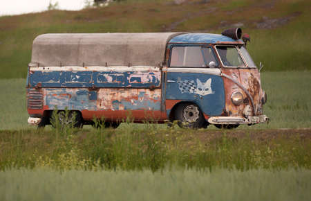 TROSA SWEDEN June 22, 2017. Volkswagen bus, Newly renovated, but the old feeling on the outside.