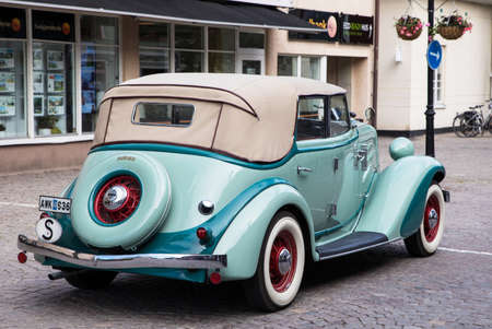 TROSA SWEDEN June 29 2017. AUBURN 652 Y. Year 1934 light green. A car brand that was manufactured until 1937 in Indiana, United States.