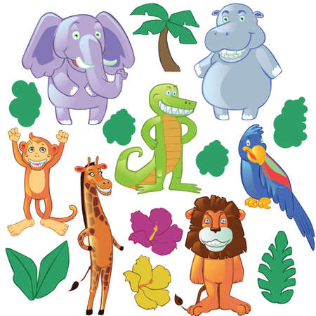 sea cow: Bundle of funny jungle cartoon animals. Great for mascot or children book illustrations.