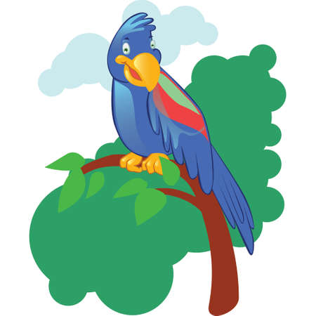 articles: Cartoon mascot parrot on jungle isolated background. Easy to use at articles, website, books