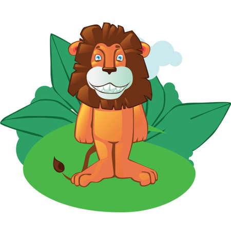 nubes caricatura: mascota del león de la historieta en el fondo de la selva aislado. Fácil de usar en artículos, libros, página web