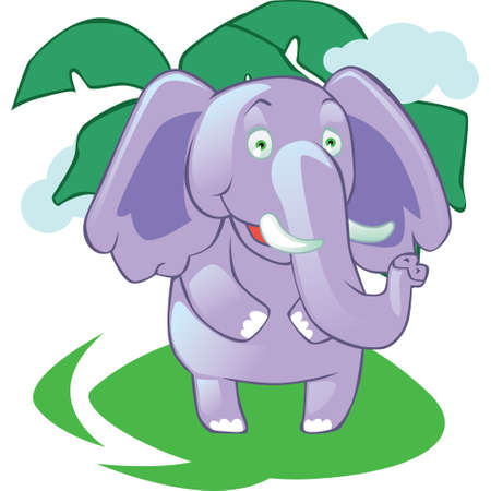 articles: Cartoon mascot elephant on jungle isolated background. Easy to use at articles, website, books Illustration