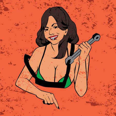 babe: Cute and sexy girl holding a wrench