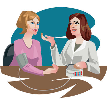 came: A woman patient came to the doctor to get information about her health. At the reception a doctor measures the pressure and finds the complaint. Illustration