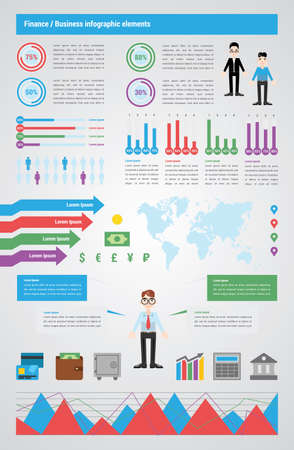 calculator money: Infographic about business and finance. Include icons elements, charts, map, text blocks, mascots. Paper style