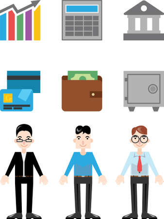 calculator money: Modern Flat Icons for infographic about business and finance. Include icons elements, charts, map, text blocks, mascots. Paper style