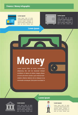 calculator money: Infographic about money  and finance with vector illustrations