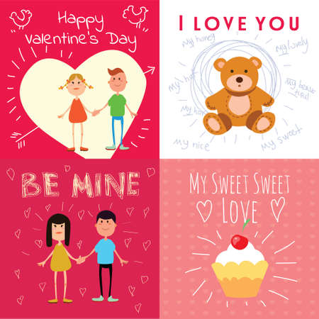 teddy bear love: Valentine greeting cards with flat illustrations and typography