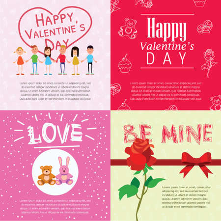 teddy bear love: Valentine greeting cards with flat illustrations and text place Illustration