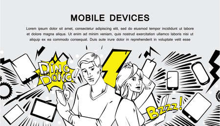woman cellphone: Comic style design concept of mobile devices, communication, technologies, chat. Modern retro comis style illustration for web banners, sliders, printed materials