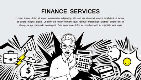 credit card business woman: Comic style design concept of finance services, business, money . Modern retro comis style illustration for web banners, sliders, printed materials Illustration