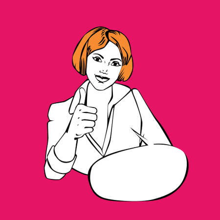 buble: Comic style vintage design wih speech buble with woman making thumbs up. Modern retro comis style illustration for web banners, sliders, printed materials