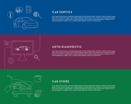 sell car: Modern linear banners or slides with car services, auto diagnostic and store on colored backgrounds. Ideal for web slides. Illustration