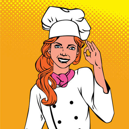 modern kitchen: Retro vintage styled illustration with chief woman showing okay- comics. Halftoned, colored with text field. Illustration
