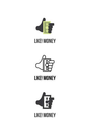 economist: Flat and outline modern logotype design for finance and money services Illustration