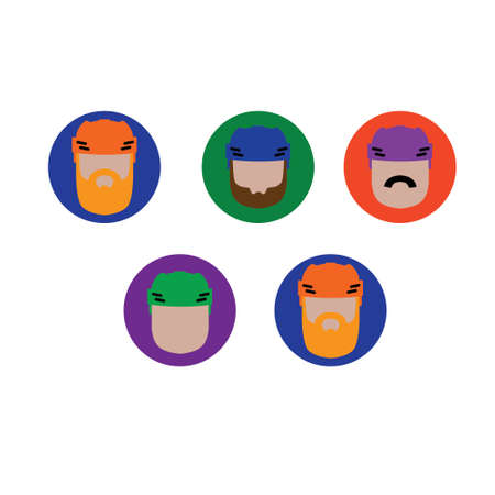 hockey players: Modern flat avatars or icon with hockey players on different color backgrounds Illustration