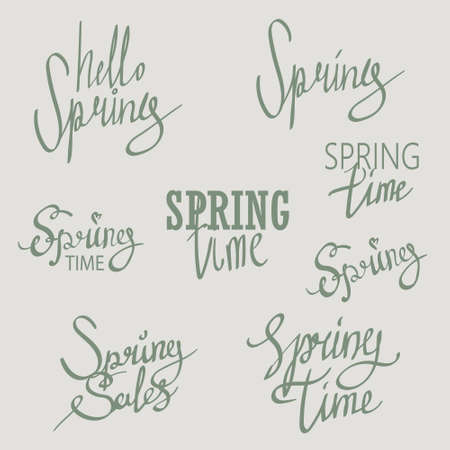 spring time: Modern lettering about spring time. Vintage styled calligraphy. written style spring postcard Illustration