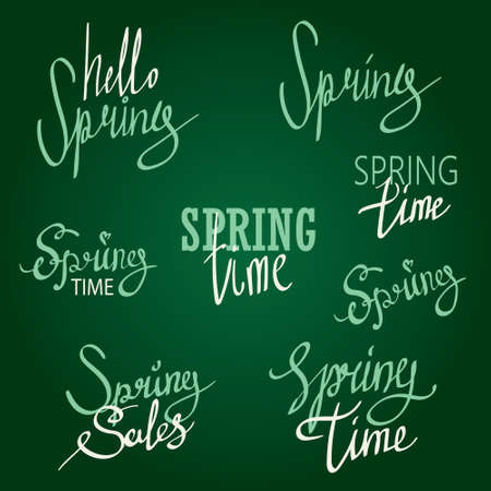 spring time: Modern lettering about spring time. Vintage styled calligraphy. written style Illustration
