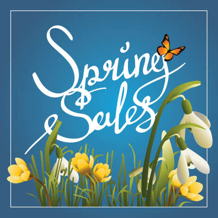 snowdrops: Spring Sale Word Hanging on with snowdrops and grass. Illustration with calligraphy