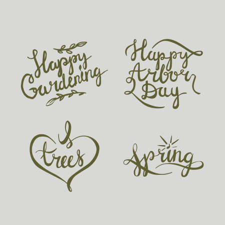 calligraphy about arbor day holiday and gardening.