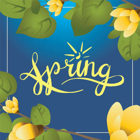 april flowers: Postcard with calligraphy word Spring . Design have leafs and flowers Illustration