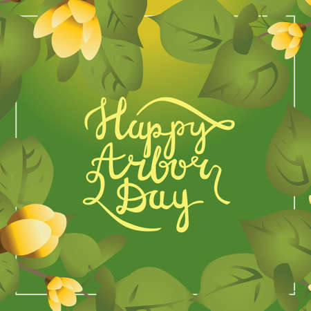 Postcard with calligraphy words Happy arbor day . Design gave leafs and watering can