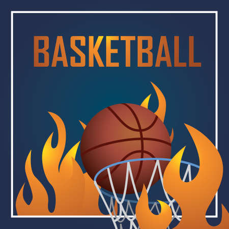 balon baloncesto: Postcard with verctor type words Basketball . Design have ball and fire Vectores