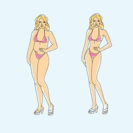 fatness: art for diet themed outline modern illustration infographic Illustration