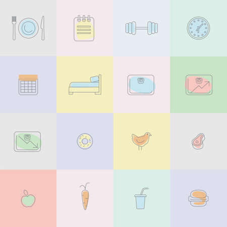 fatness: Icons for diet themed outline modern illustration infographic
