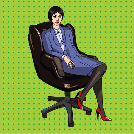 lady boss: image in pop art style with lady boss in office chair Illustration