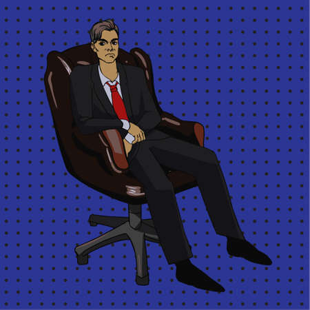 comix: image in pop art style with boss man in office chair