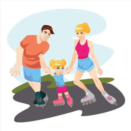 family with one child: illustration with family with one child skating on roller skates
