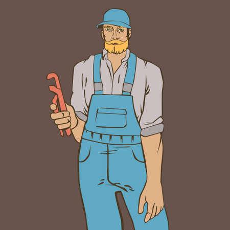 Ilustración Con El Fontanero Hombre Inconformista En El Estilo Retro ...