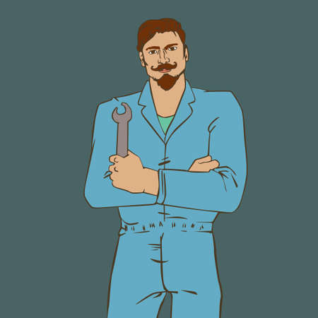 cool man: illustration with hipster man Auto Mechanic in cool retro style Illustration