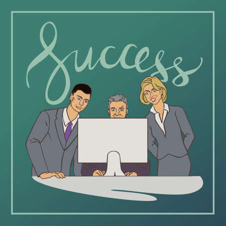 groupe: illustration with groupe of office people who watching at computer with vintage lettering word success