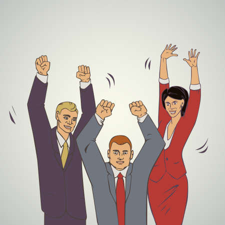comix: illustration with groupe of office people who raise hands and happy Illustration