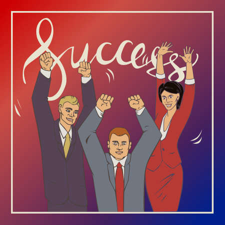 sucess: illustration with groupe of office people who who raise hands and happy with vintage lettering word success