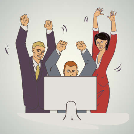 groupe: illustration with groupe of office people who raise hands and happy Illustration