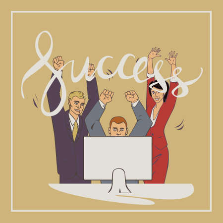 comix: illustration with groupe of office people who who raise hands and happy with vintage lettering word success