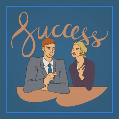 groupe: illustration with groupe of office people man and woman talking with handwriting lettering word success Illustration