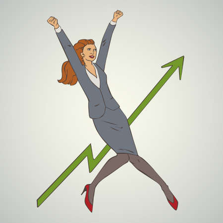 comix: illustration with woman jumping up and happy Illustration