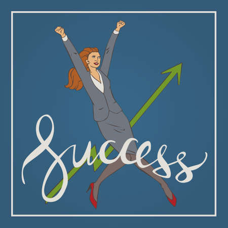 sucess: illustration with woman  jumping up and happy with handwriting lettering word success Illustration