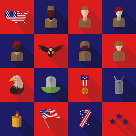american revolution: Set of various USA icons veteran day graphics, icons or badges and design elements