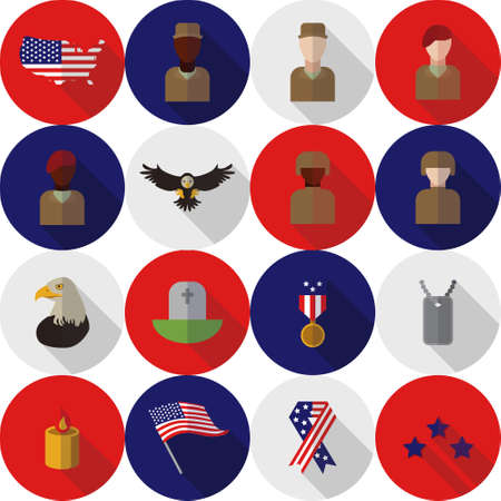 honoring: Set of various USA icons veteran day graphics, icons or badges and design elements