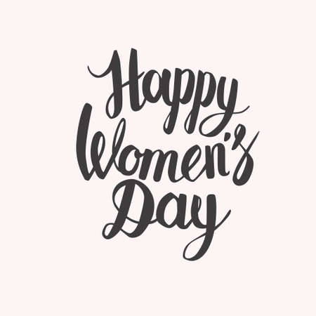 egalitarianism: Hand lettering calligraphy with words Happy Womens day Illustration