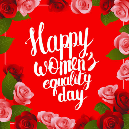genders: postcard illustration with Hand lettering calligraphy words Happy Womens Equality Day