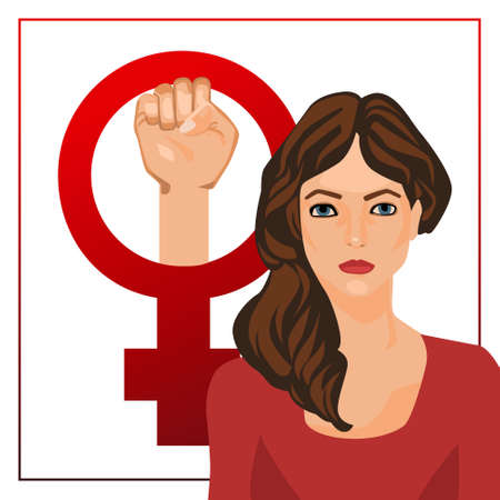 egalitarianism: postcard illustration with feminine sign and woman