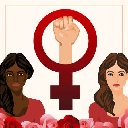egalitarianism: postcard illustration with women and feminist sign
