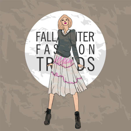 spring coat: illustration with fashionable girl. shopping. fashion illustration. fashion banner.collage. Street fashion. new trends fall winter